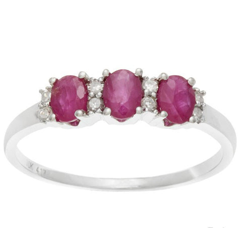Genuine Ruby Gemstone and Diamond White Gold Ring