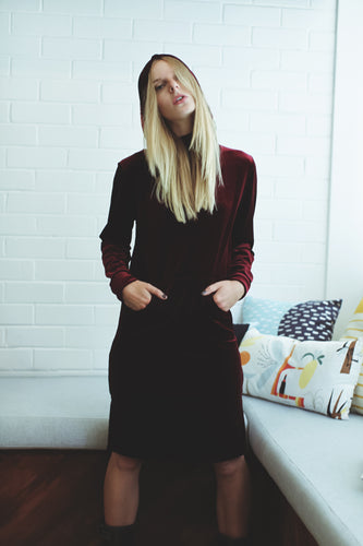 Say Something Dress in Wine Velour - Non Existent The Label