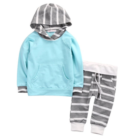 Blue and Grey Striped Set