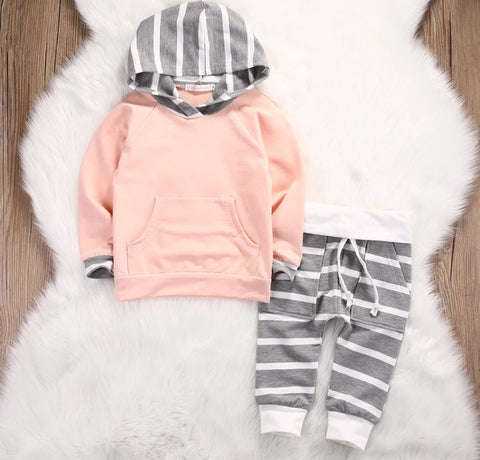 Peach and Grey Striped Set