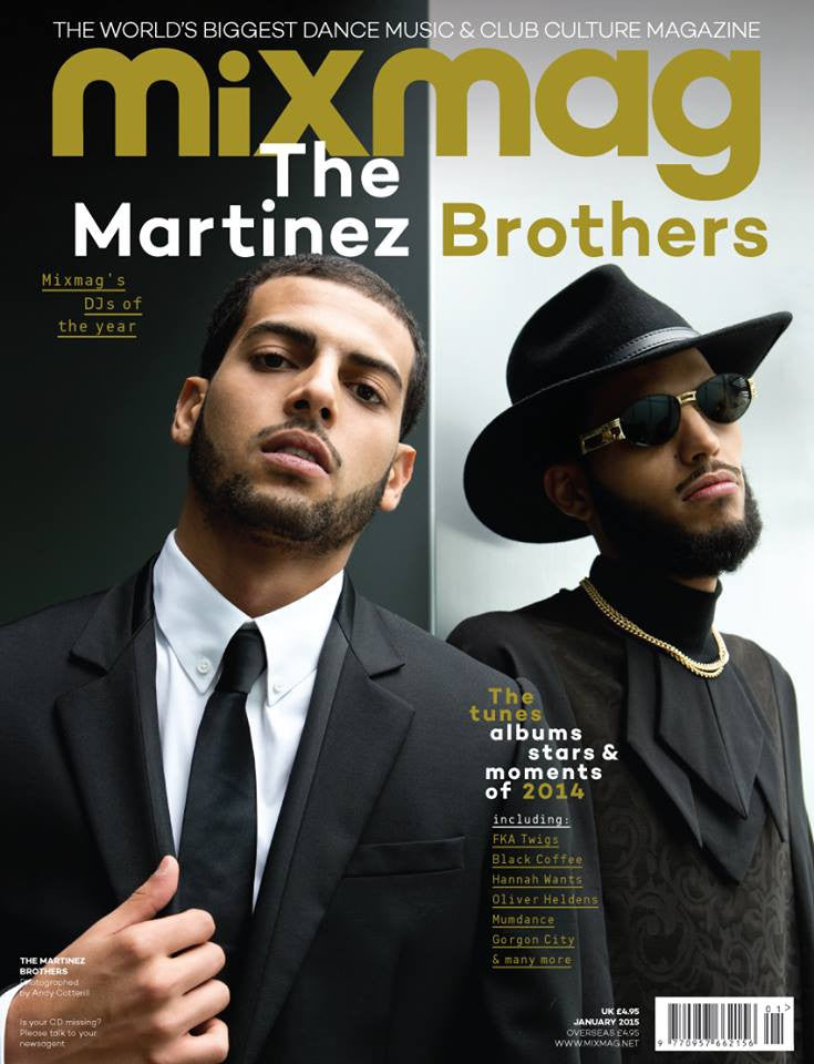 MixMag Magazine Cover, featuring The Martinez Brothers wearing CLON8 sweatshirt,UK