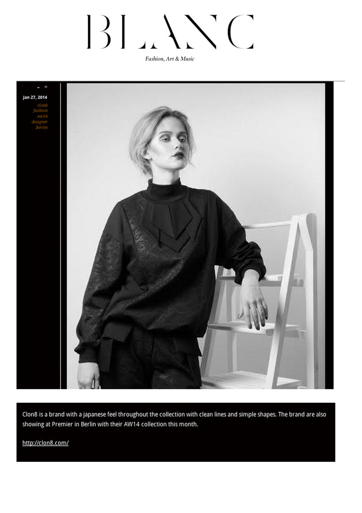 BLANC Magazine featuring CLON8 Sweatshirt,UK
