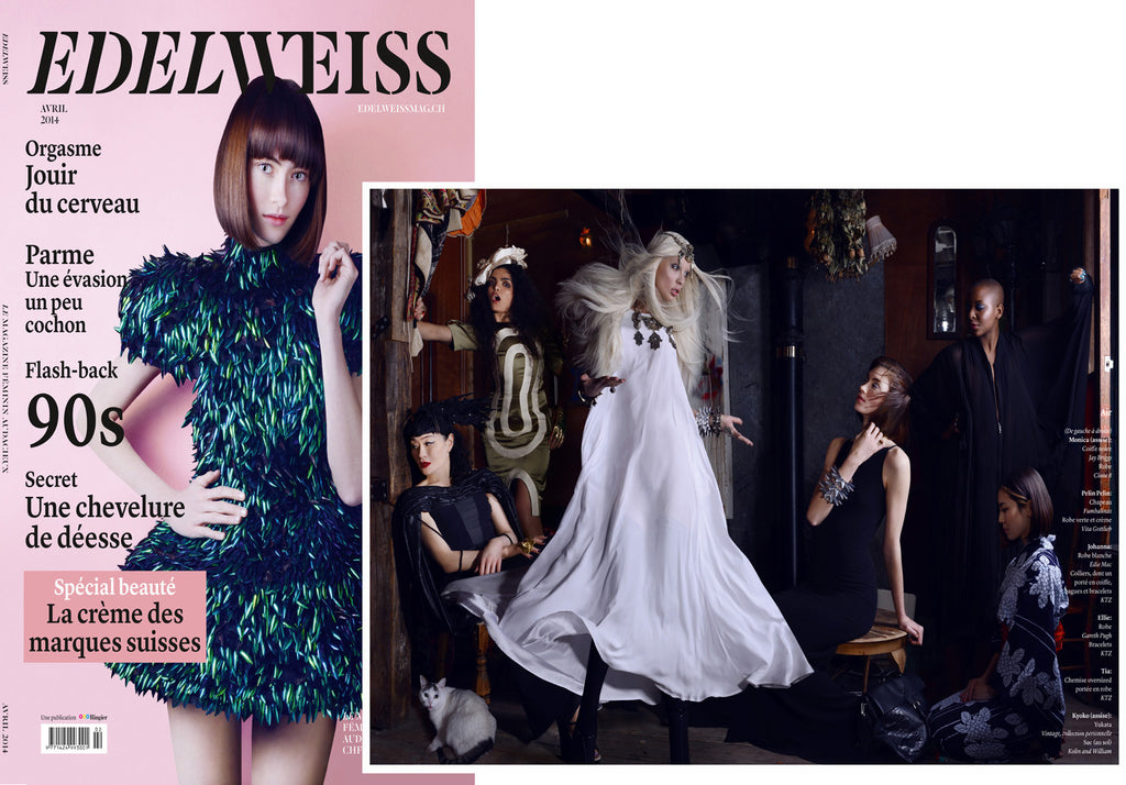 EDELWEISS Magazine featuring custom Dress by CLON8,Switzerland