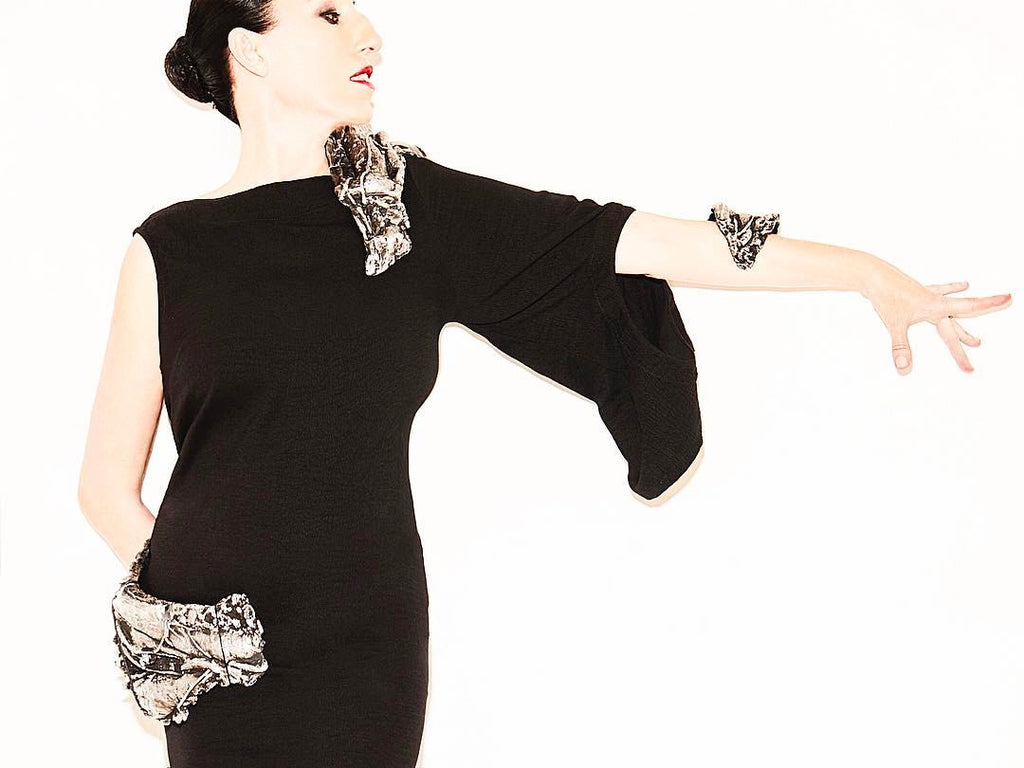 Rossy de Palma wears CLON8 for Portable Art Projects at Hauser&Wirth Gallery, NYC