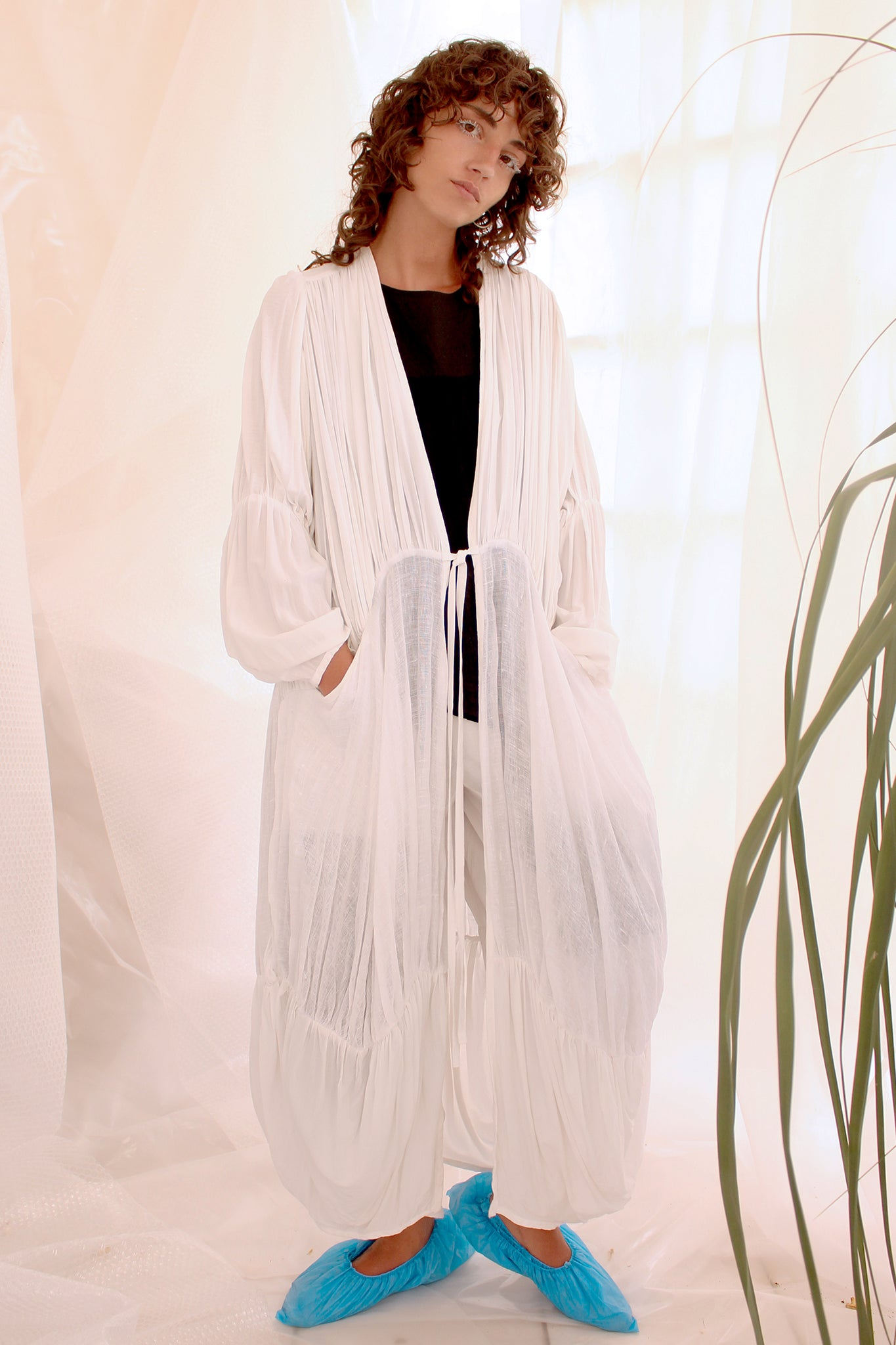 Shop CLON8 Wave Kaftan White