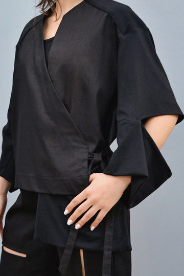 Shop CLON8 Slash Asymmetrical Wrap Jacket
