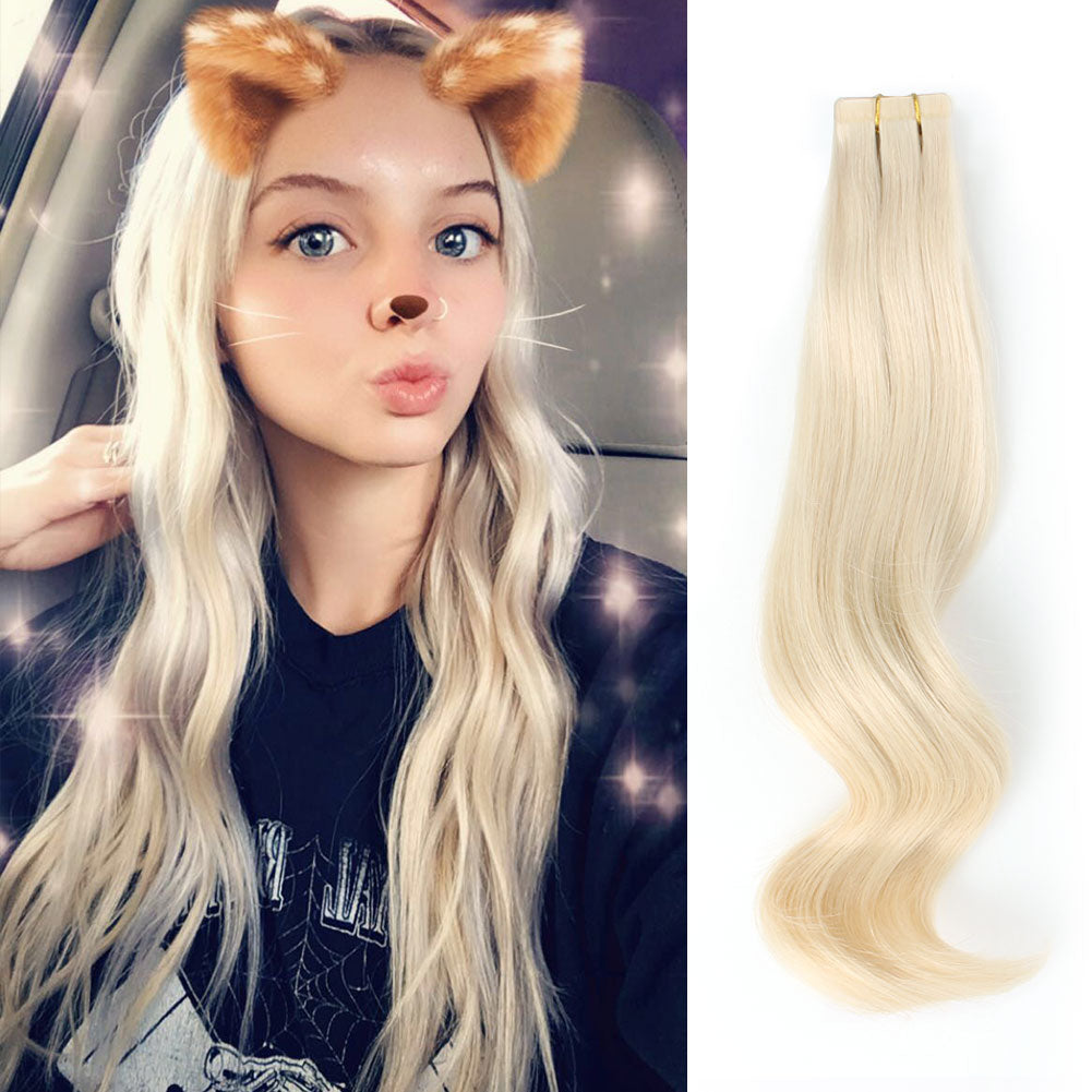 Tape In Hair Extensions 60 Platinum Blonde