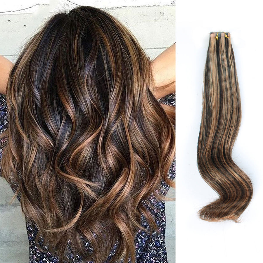 Tape In Hair Extension P #1B/#30 Off Black Highlights Light Auburn