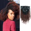 Kinky curly clip in hair extensions ombre N/33# 12"