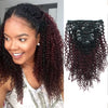 Kinky curly clip in hair extensions ombre N/99J# 12"