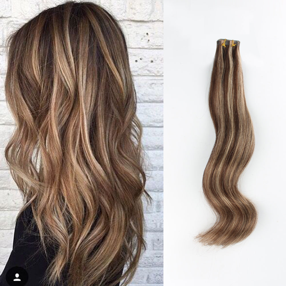Tape In Hair Extension P 3 12 Medium Brown Highlights