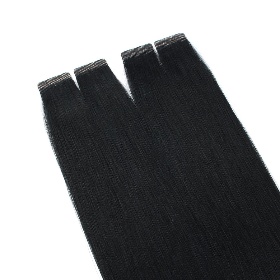 Jet Black (#1) Virgin Tape  In Hair Extensions 18""