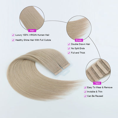Sandy Blonde (#101) Virgin Tape  In Hair Extensions 18""
