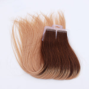 Ombre 3/8# 100% Human Hair Virgin Tape In Hair Extensions