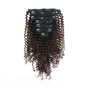 Clip in Hair Extension Kinky Curl Ombre Natural Black to Chocolate Brown