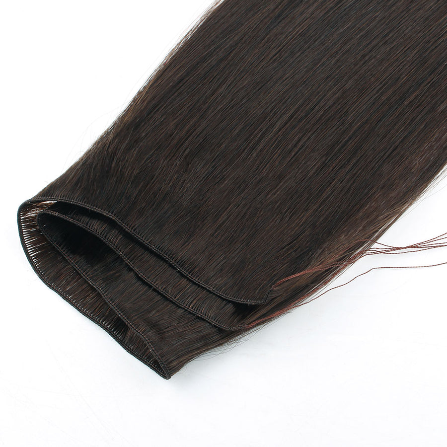 Dark Brown (#2) Hand Tied Hair Extensions