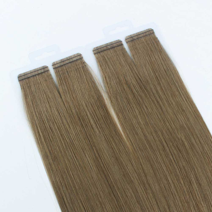 Light Ash Brown (#28) Virgin Tape  In Hair Extensions 18""