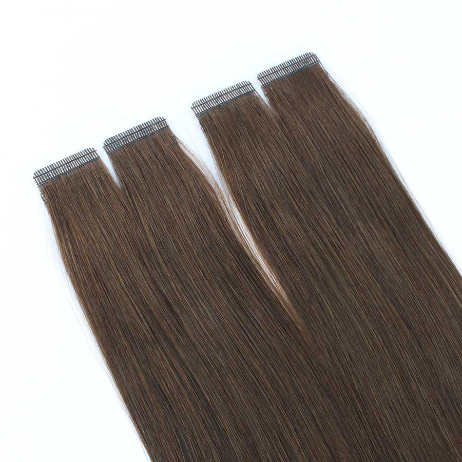 Chocolate Brown (#3) Virgin Tape  In Hair Extensions
