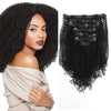 Kinky coily clip in hair extensions natural black 12"