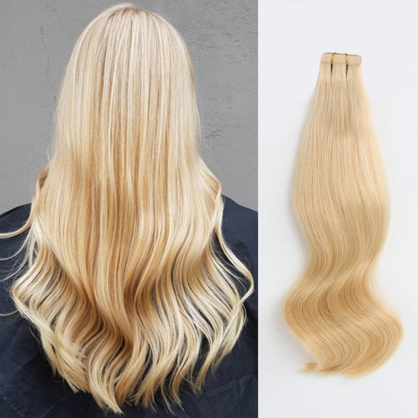 Tape In Hair Extension P #60/#24 Ash Blonde Highlights Honey Blonde