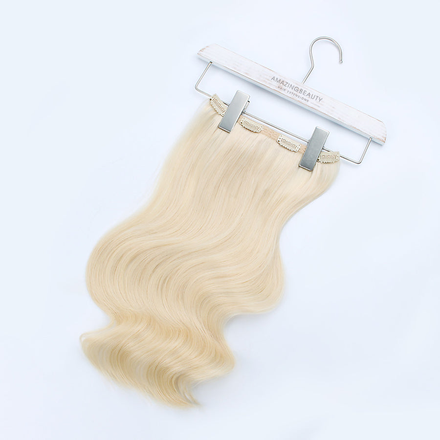 140g Platinum Blonde 60# Clip In Hair Extensions 20""