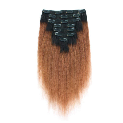 Clip in Hair Extension Kinky Straight Ombre Natural Black to Light Auburn