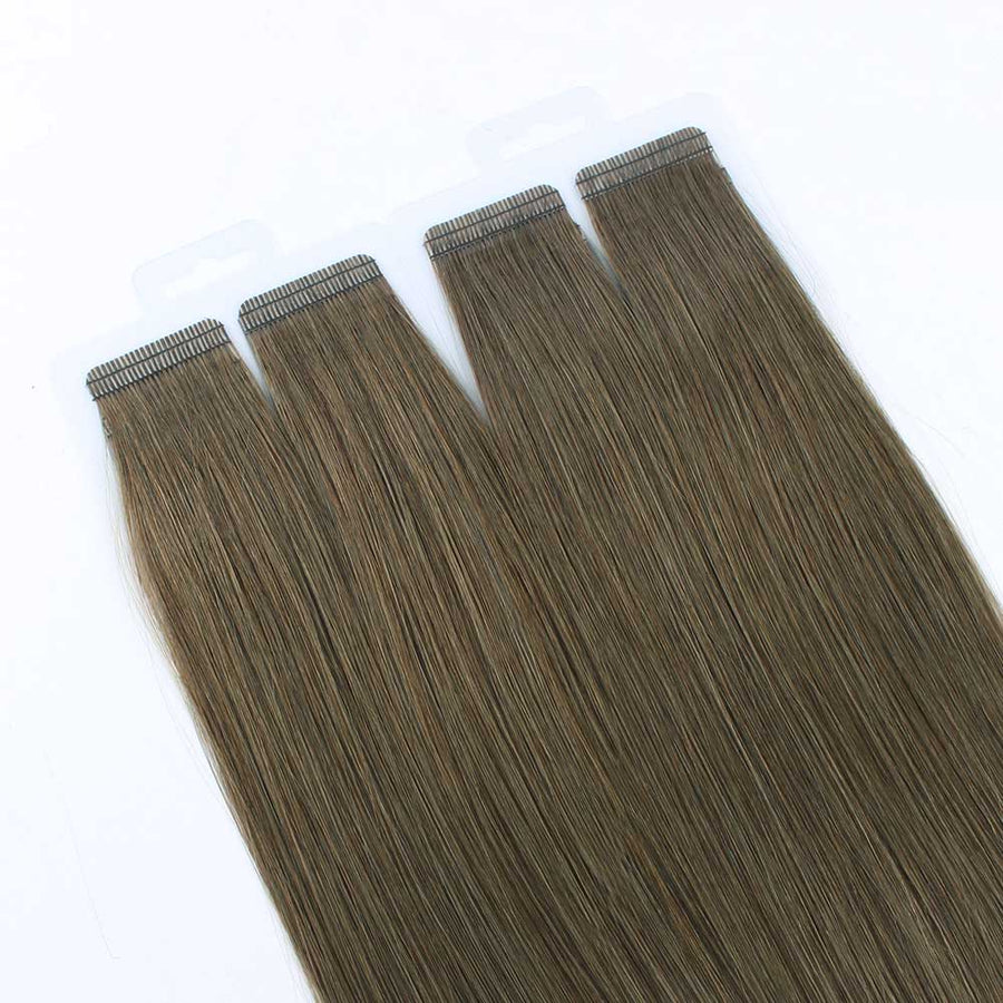 Dark Coffee Brown (#66) Virgin Tape  In Hair Extensions 18""