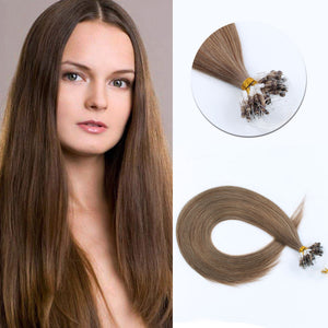 Micro Ring Hair Extensions #8 Ash Brown