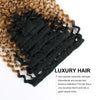Clip in Hair Extension Jerry Curl Ombre Natural Black to Camarel Blonde