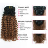 Clip in Hair Extension Jerry Curl Ombre Natural Black to Light Auburn