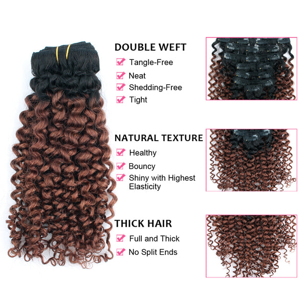Clip in Hair Extension Jerry Curl Ombre Natural Black to Dark Auburn