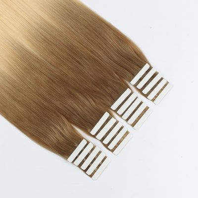 Tape In Hair Extension T#10/#613 Medium Golden Brown Ombre Bleach Blonde