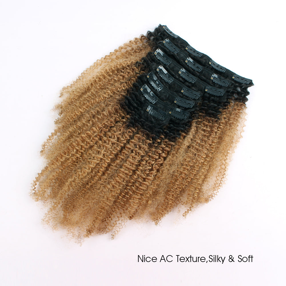 Clip In Hair Extension Afro Kinky Curly Ombre Natural Black To Caramel