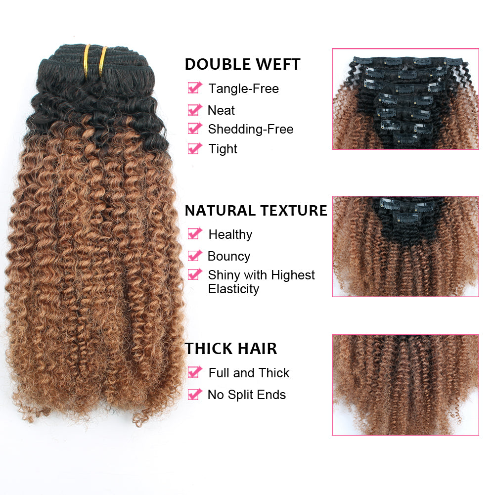 Clip In Hair Extension Afro Kinky Curly Ombre Natural Black To Light A