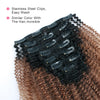 Afro curly clip in hair extensions ombre N/30# 12"