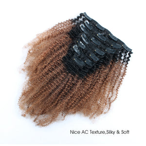 Clip in Hair Extension Afro Kinky Curly Ombre Natural Black to Light Auburn