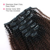 Afro curly clip in extensions ombre N/4# 16"