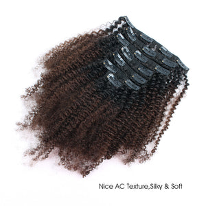 Clip in Hair Extension Afro Kinky Curly Ombre Natural Black to Chocolate Brown