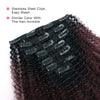Afro curly clip in hair extensions ombre N/99J# 12"