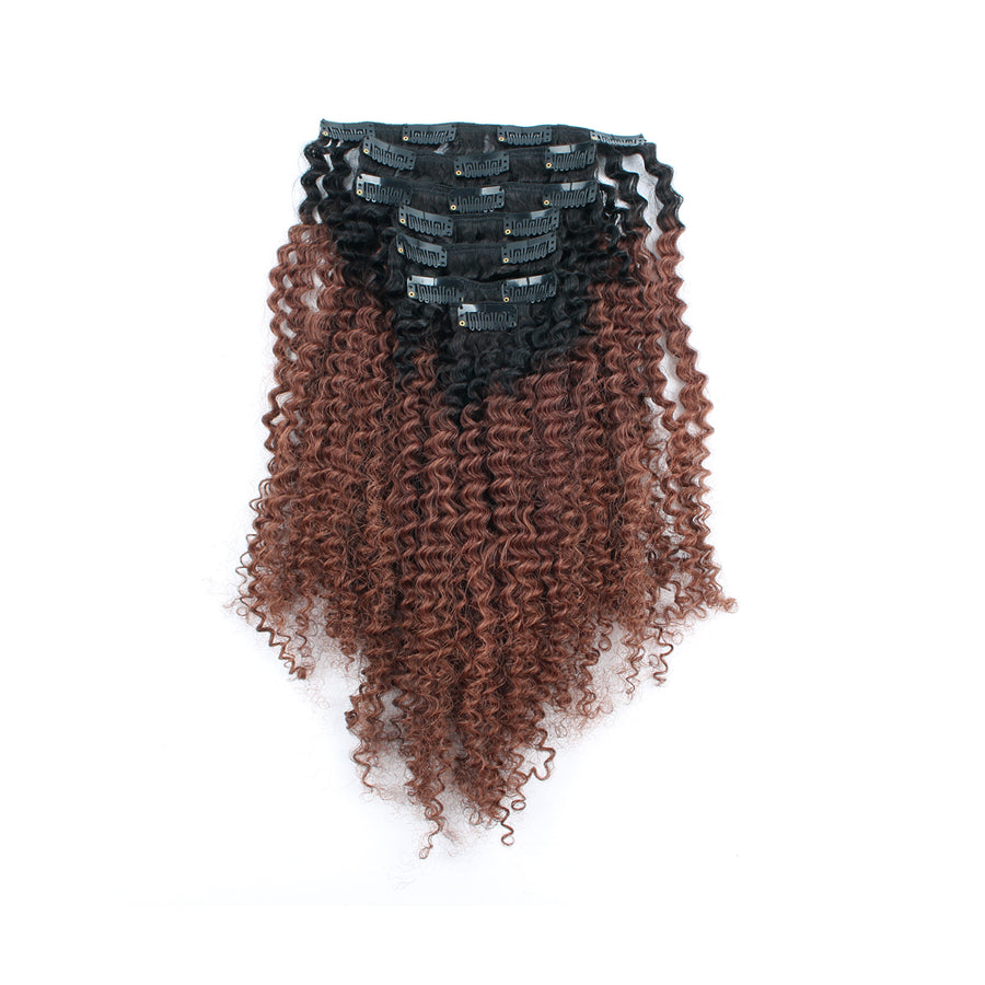 Clip in Hair Extension Afro Kinky Curly Ombre Natural Black to Dark Auburn
