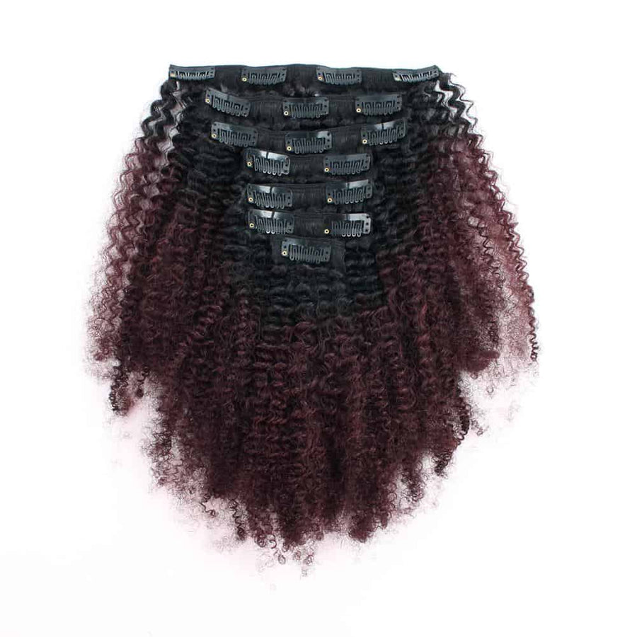 Clip in Hair Extension Afro Kinky Curly Ombre Natural Black to Dark Wine