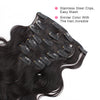 Body wave clip in extensions natural black 16"