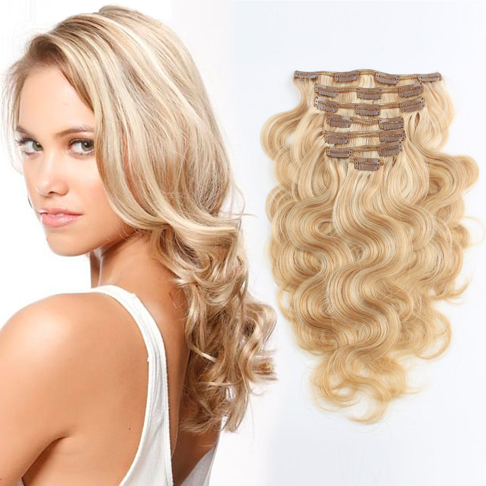 Clip in Hair Extension Body Wave Highlights P #12/#613