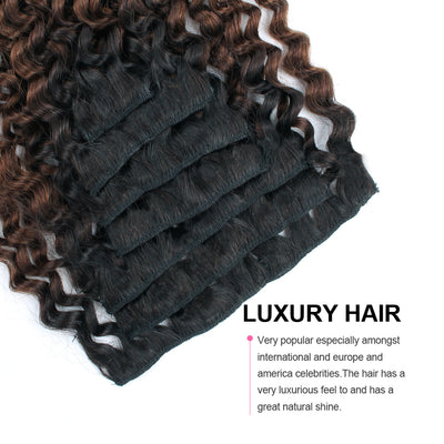 Clip in Hair Extension Jerry Curl Ombre Natural Black to Chocolate Brown