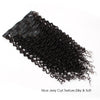 Jerry curl clip in hair extensions natural black 12"