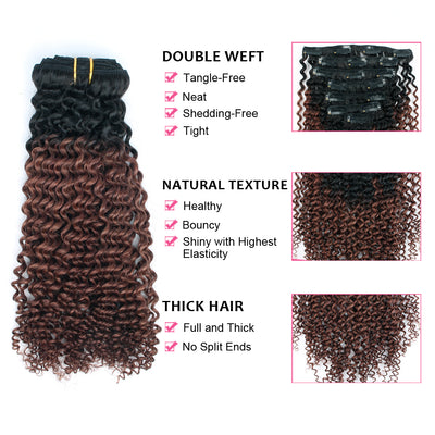 Clip in Hair Extension Kinky Curl Ombre Off Black to Dark Auburn