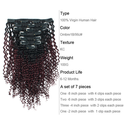 Clip in Hair Extension Kinky Curl Ombre Off Black to Dark Wine