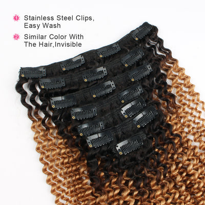 Clip in Hair Extension Kinky Curl Ombre Black to Blonde