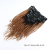 Kinky curly clip in hair extensions ombre N/27# 16"