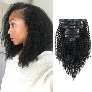 Clip in Hair Extension Kinky Curl Jet Black